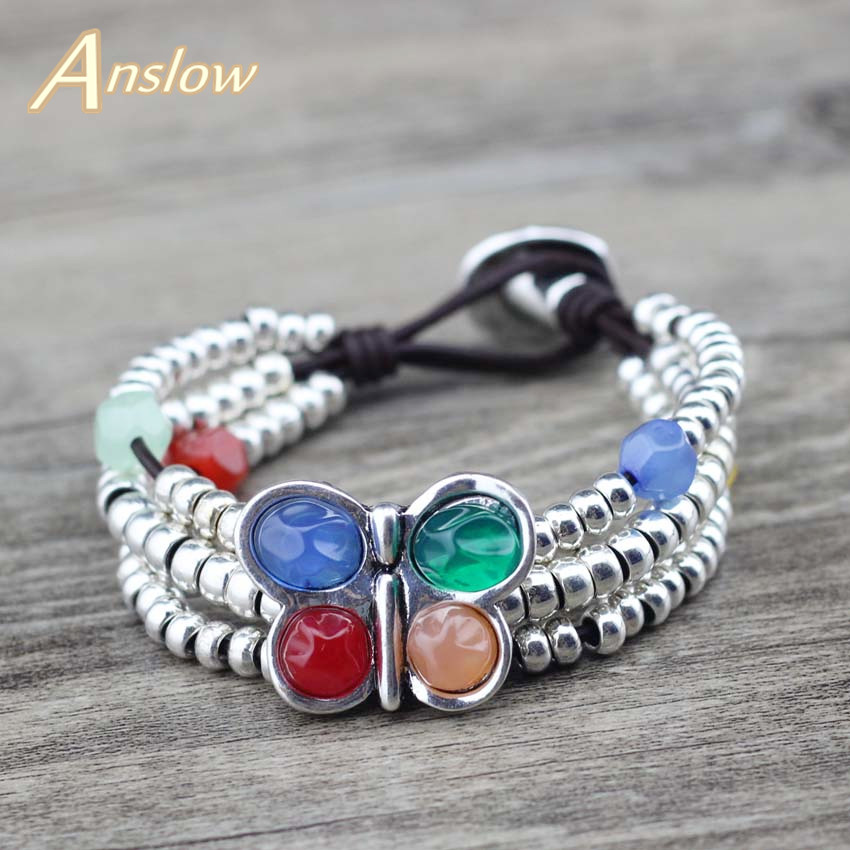 Anslow New Fashion Jewelry Spring Wrap Beads Color Resin Butterfly Leather Bracelets For Women Female Charms Bangles LOW0774LB in Charm Bracelets from Jewelry Accessories
