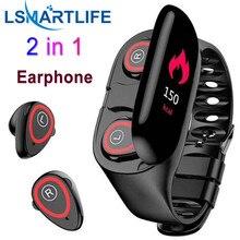 """Inteligentny zegarek sportowy 0.96 """"M1 AI z Bluetooth słuchawki tętno opaska monitorująca aktywność długi czas czuwania bezprzewodowe douszne"""
