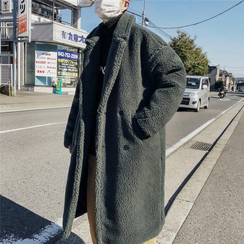 YASUGUOJI 2019 Korean Fashion Double Breasted Men Coat Long Thicken Warm Fleece Winter Coat Men Mens Overcoat Manteau Pour Homme
