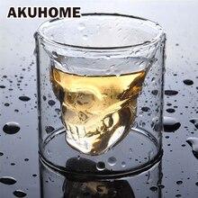 Bicchiere in vetro trasparente a 3 vie con testa a teschio in cristallo trasparente per whisky vino Vodka Bar Club birra bicchiere da vino