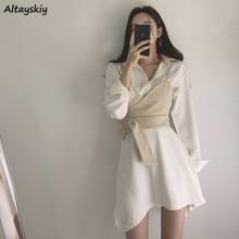 Mini robe automne Style coréen pour femmes, manches longues, deux pièces, tendance élégante, irrégulière, Slim, Mini robe femme
