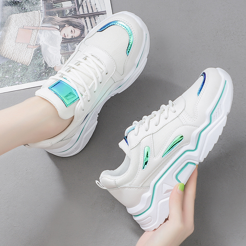 Fahsion Running Shoes For Women INS Height Increasing Mesh Breathable Harajuku Sneakers Cushioning Fitness Sports Causal Shoes