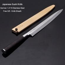 27cm Sashimi japonais Sushi couteau cuisine allemagne 1.4116 acier inoxydable Salom poisson filage Yanagiba couteaux de cuisine 10.2G