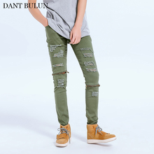 Casual Jeans Men Tron Ripped Pencil Pants Zipper Designer Slim Fit Denim Biker Jeans Olive Green Straight Elasticity Pants new designer dots print biker jeans men character ripped patchwork casual men s jeans pants 100