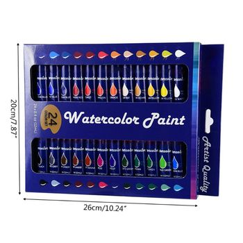 12ml 24 Colors Professional Acrylic Paint Watercolor Drawing Painting Pigment E65C original south korean high quality very good wcs 103water colors 24 colors 7 5 ml watercolor oil paint