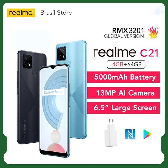 "Global Version realme C21 4GB+64GB/ 3GB+32GB Smartphone Helio G35 Octa Core 6.5""display 5000mAh battery 3-Card Slot 1"