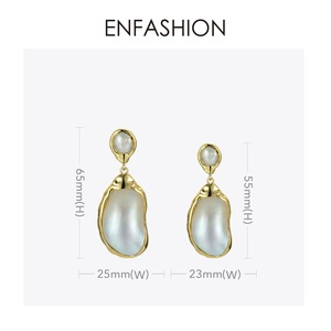Image 5 - Enfashion בציר גדול הקונכייה Drop עגילים לנשים זהב צבע טבעי אמא של פרל עגילי תכשיטים Oorbellen E191024
