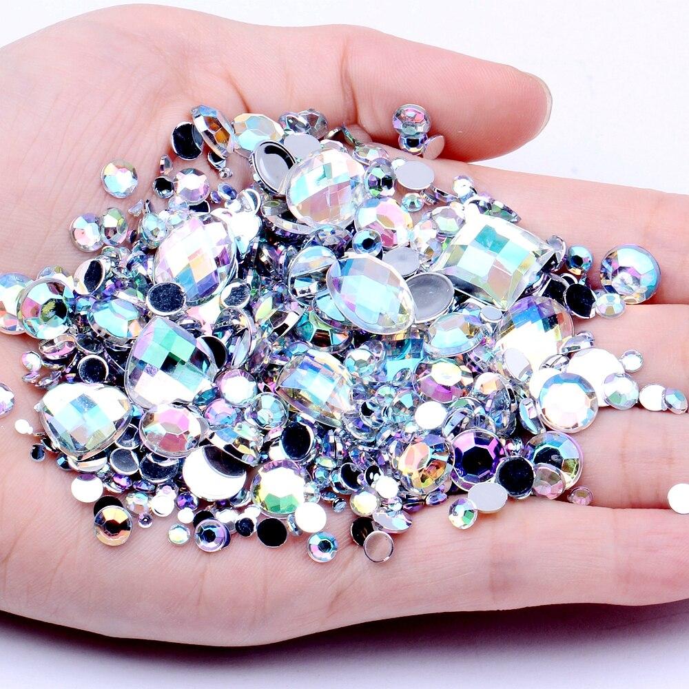 Rosa 4 mm Acrílico Pedrería Diamante Gemas de reverso plano para Arte en Uñas//Crafts