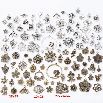 цена 50pcs/set Retro Flower Charms Pendants for DIY Bracelet Jewelry Making Necklaces Antique Handmade Accessories Crafts Wholesale онлайн в 2017 году