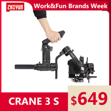 ZHIYUN Official Crane 3S/Crane 3S-E 3-Axis Handheld Gimbal with SUPER motos for Max. 6.5KG DSLR Camera Video Cameras Stabilizer zhiyun crane 2 accessories zw b02 wireless remote control monitor for crane plus crane v2 crane m handheld camera stabilizer