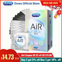 Durex AiR Condoms Ultra Thin Condones Rib Thread Natural Rubber Latex Sex Products Intimate Goods Penis Cock Sleeve Sex for Men