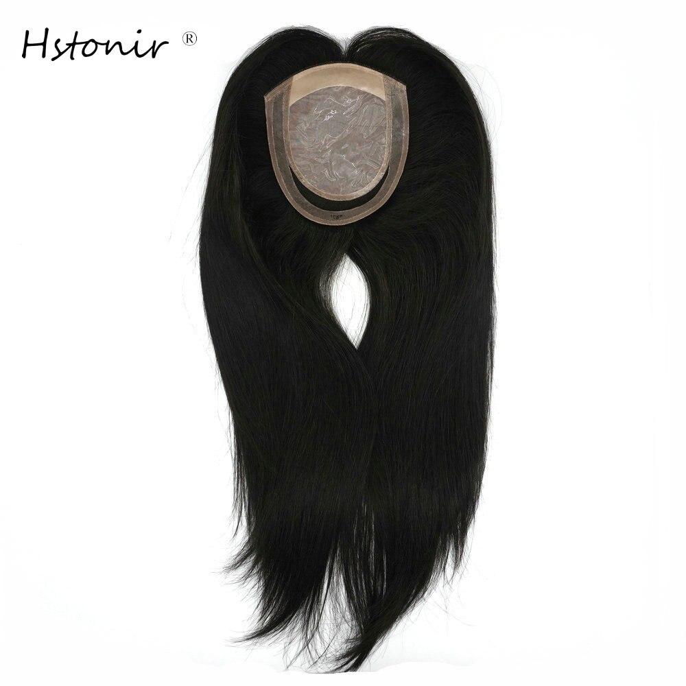 Hstonir Womens Human Hair Toppers Silk Base European Remy Hair Toupet Cheveux Humain Toupee Magic Hair TP29