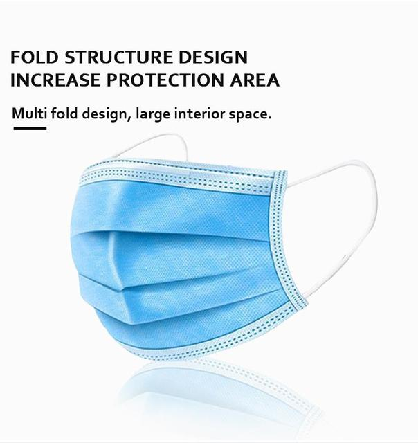 10/50/100pcs Disposable Mask Mouth Mask Anti Fog 3 layers of non-woven melt blown cloth Mouth Mask 2