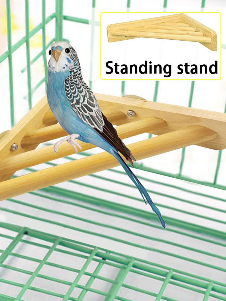 Wood Bird Perch Stand Toy Corner Shelf Laddered Platform font b Pet b font Perch Tray
