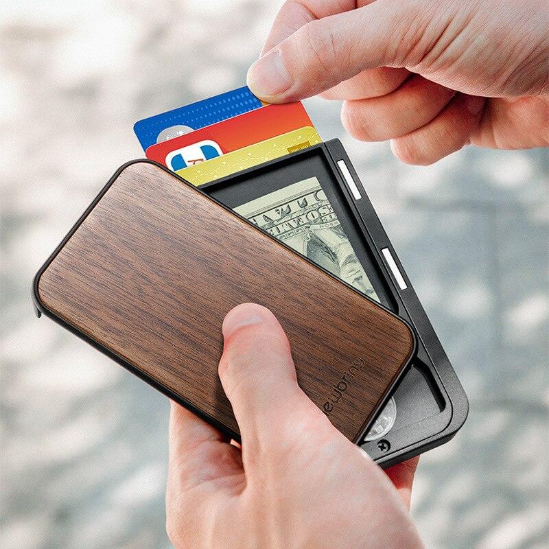 Bank Credit Card Holder Men's Pocket Anti Rfid Blocking Card Cover Creative Metal Carbon Fiber Card Wallet Men and Women