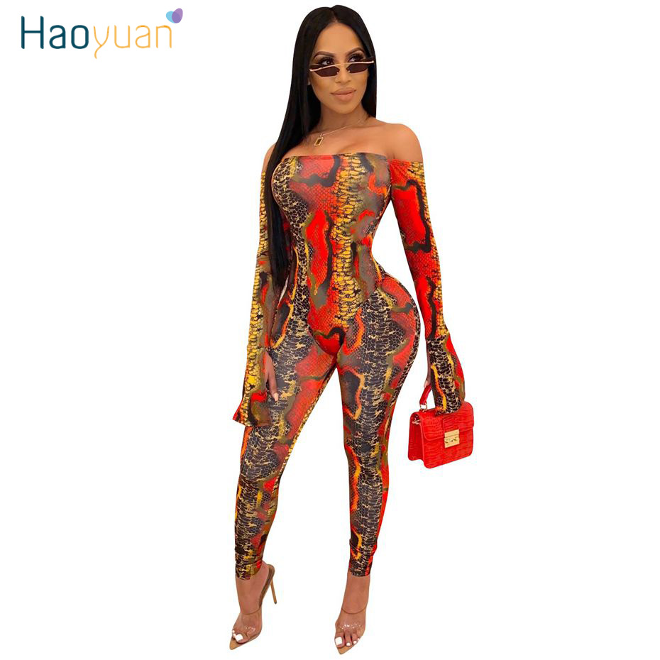 HAOYUAN Sexy Snake Print Bodycon Rompers Womens Jumpsuit Two Piece Set Bodysuit Top And Pants Club Outfits Long Sleeve Tube Body