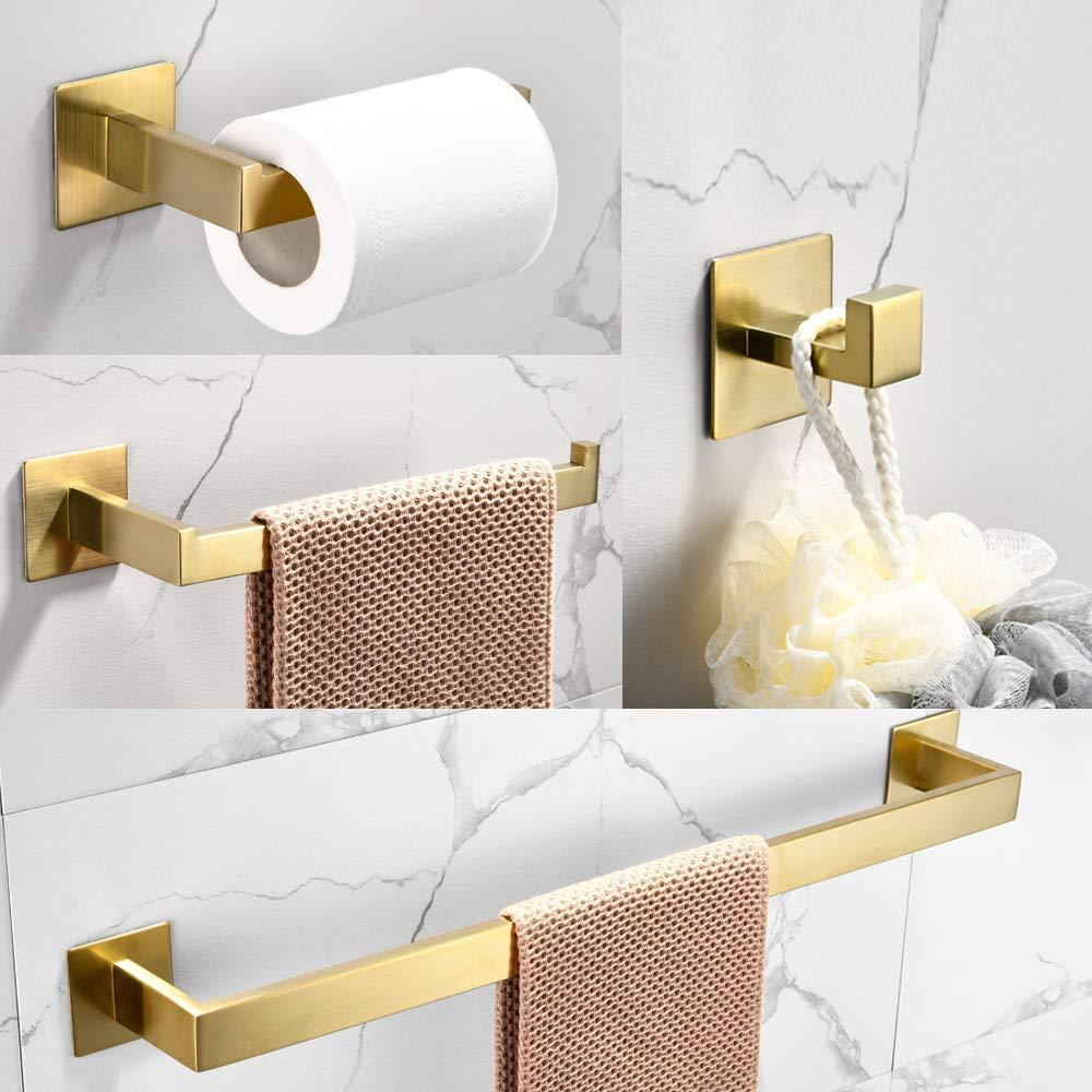 Brushed Gold Stainless Steel 4-piece Bathroom Hardware Kit Towel Bar Toilet Paper Rack Clothes Hook  Bathroom Roll Paper Holder