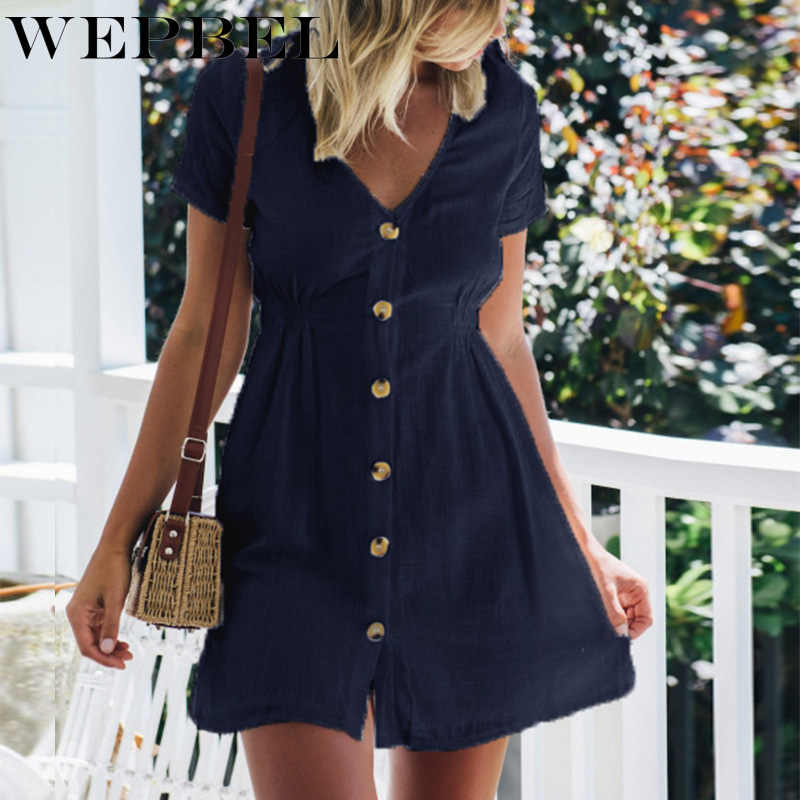 WEPBEL Women Dress Solid Color Summer Deep V Neck Sexy Short Sleeve Button Girl Cloth Mini Dresses