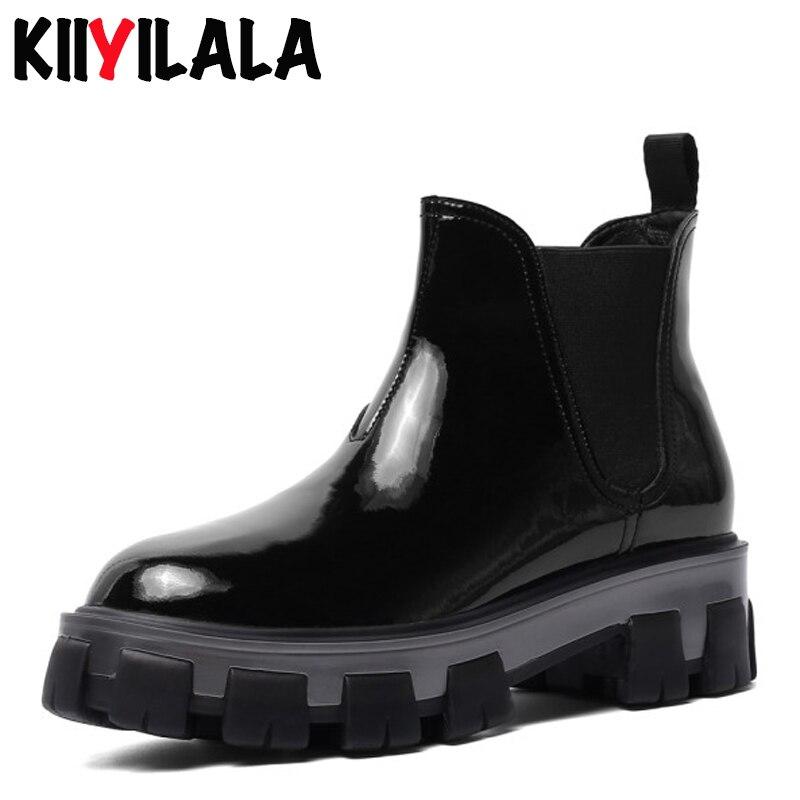 Kiiyilala Genuine Leather Platform Boots Women Shoes Elastic Band Square Heel Round Toe Chelsea Thick Bottom