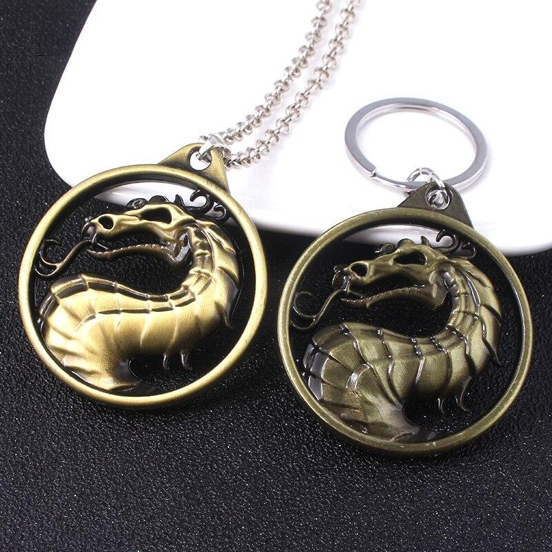 Jeu mortel Kombat porte-clés en alliage de métal Animal Dragon clé porte-anneau Chaveiro cadeau pour hommes voiture clé accessoires