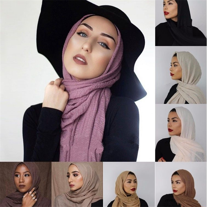 Wholesale 10pcs Muslim Crinkle Scarf Hijab Islamic Female Wrap Head Scarves Foulard Femme Musulman Cotton Plain Headscarf