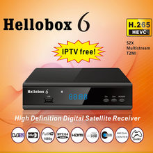 Hellobox6 receptor de tv por satélite h.265 hevc 1080p multistream/t2mi caixa de tv decodificador dvb s2 sintonizador receptor