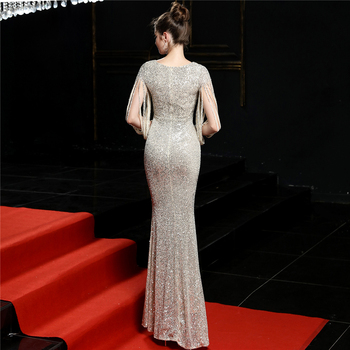 Sequined Mermaid Prom Dress Elegant V-Neck Women Party Dress DX254-4 2019 Plus Size Robe De Soiree Floor Length Evening Dresses 3