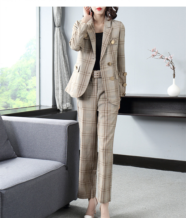 New spring European and American style super fashion grid suit with belt+long section wide leg trousers two pieces set for women