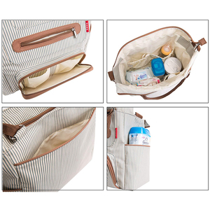 Image 5 - Diaper bag 7 pieces set nappy tote bag large capacity for baby mom dad Travel Bag with Stroller Straps