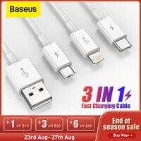 Baseus 3 in 1 USB Typ C Kabel für iPhone 12 Pro Max 3 in 1 USBC Schnelle Lade Ladegerät kabel Für Xiaomi Samsung Micro Datenkabel