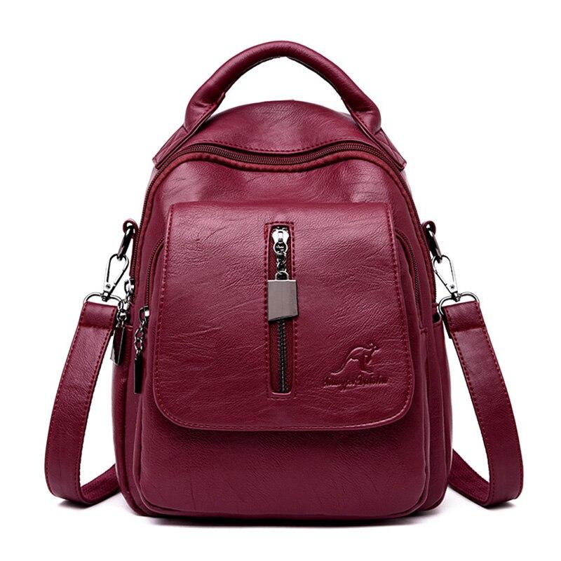 3-in-1 Soft Leather Backpack Women Casual Solid School Bags For Teenage Girls Travel Backpack Ladies Bagpack Mochila Feminina