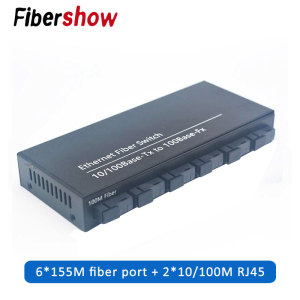 10/100M Fast Ethernet Fiber Optical Media Converter Single Mode switch Converter 20KM 2 RJ45 and 6 SC fiber Port(China)