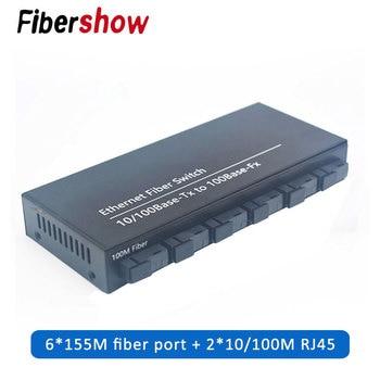 10/100M rapide Ethernet Fiber optique convertisseur de médias monomode convertisseur de commutation 20KM 2 RJ45 et 6 SC Port de fibers