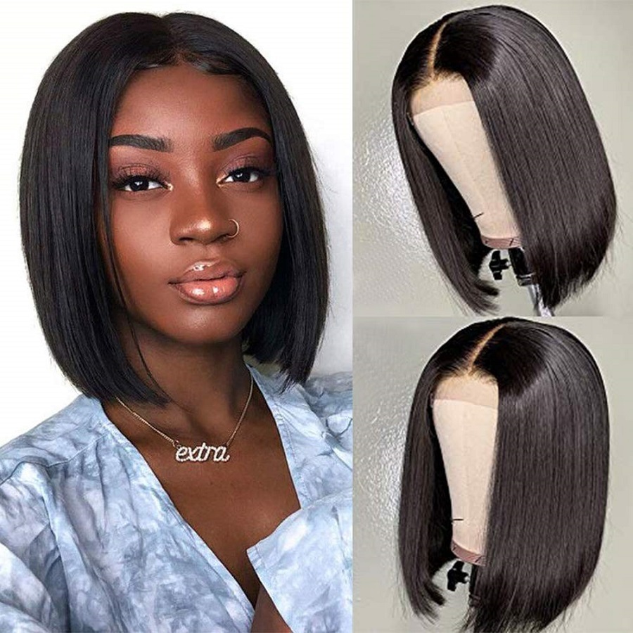Haever 4x4 Lace Closure Wig Straight Human Hair Wigs For Black Women150% Density Short Bob Brazilian Hair Wigs 99J Red Burgundy