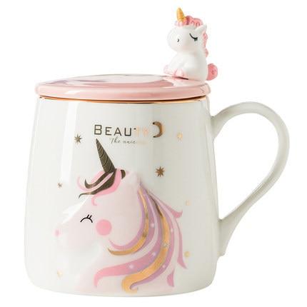 Unicorn Coffee mug Cute Ceramic Cartoon mug Novelty  Print Porcelain Stirring Mug with 3d Unicorn Lid Animal  Mug for girl gifts 1