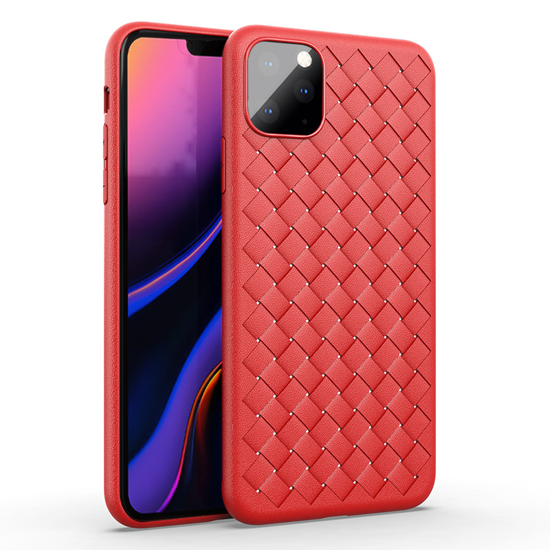 H2cb33dad8bff41e7b6884a2657a834b85 NEW Boomboos Classic cross leather pattern weaving breathable soft grid case for iPhone11 for iphone 11 max for apple 11 pro