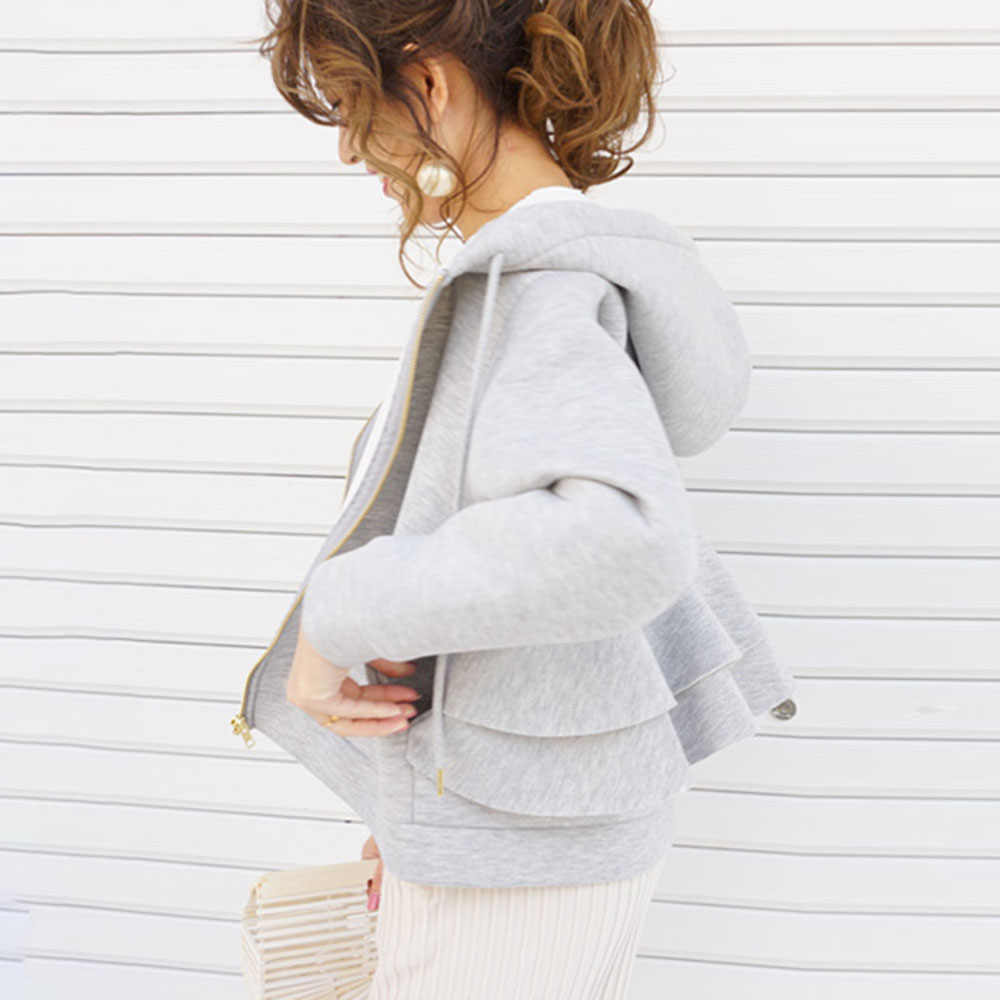 女性秋パーカー 2019 韓国ファッション因果無地ジッパースウェットプルオーバーファルバラ厚いショートコート生き抜く黒