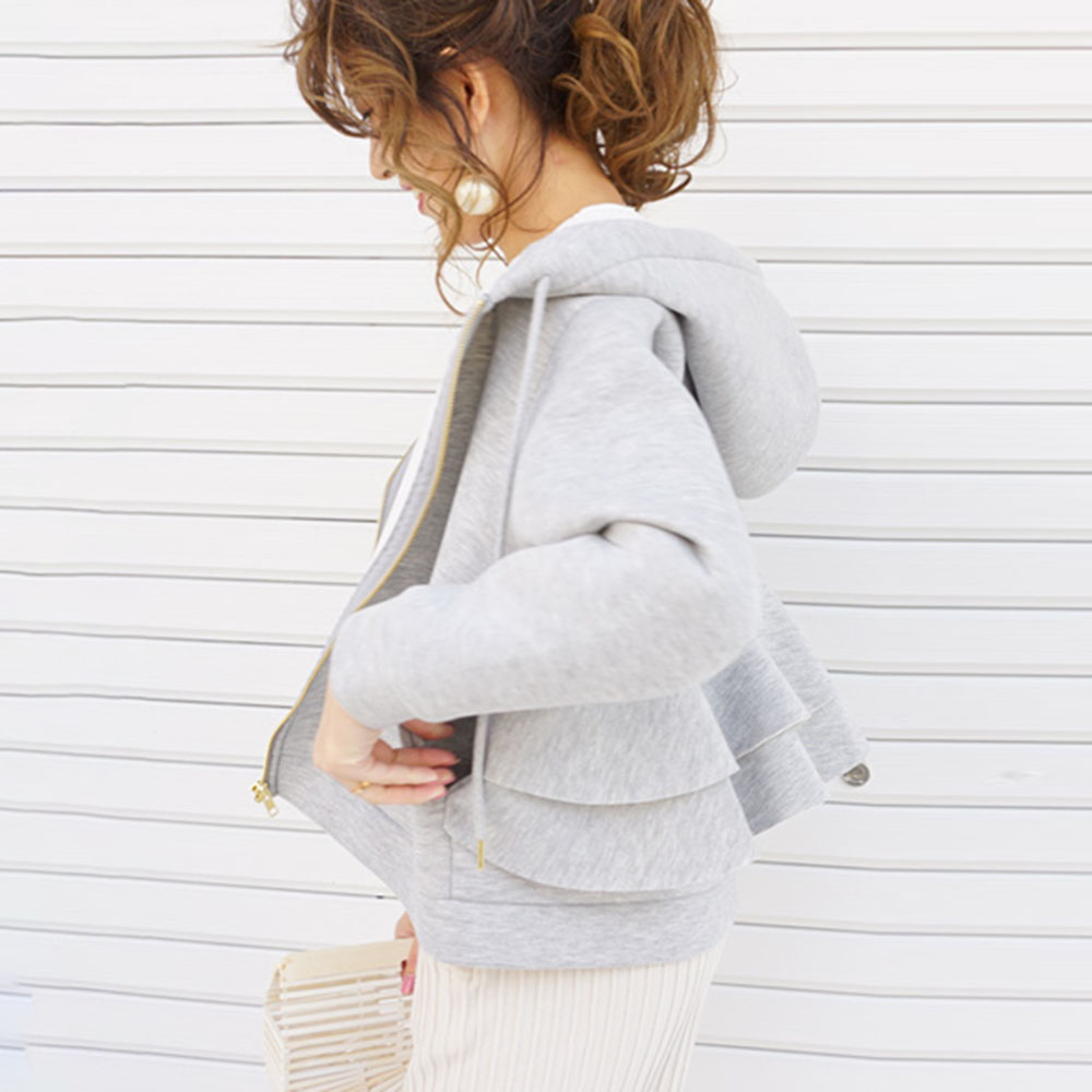 Women Autumn Hoodie 2019 Korean Fashion Causal Plain Zipper Sweatshirts Pullovers Loose Falbala Thick Short Coat Outwear Black