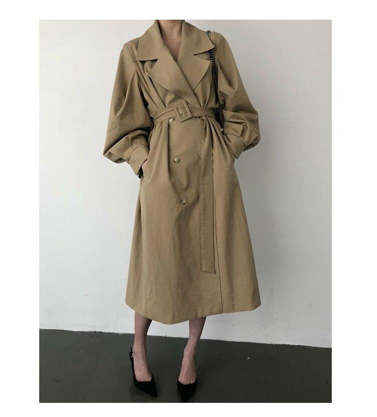 Windbreaker Women Trench Coat Belt Waist 19 Autumn Double Breated Oversize Long Coat Lady Streetwear Korean Outwear 6