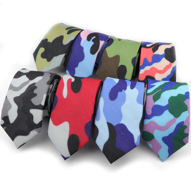 Mens Slim Tie Camouflage Patterned Ties 6cm Width Neck Ties Fashion Skinny Tie For Men Wedding Party NeckTies