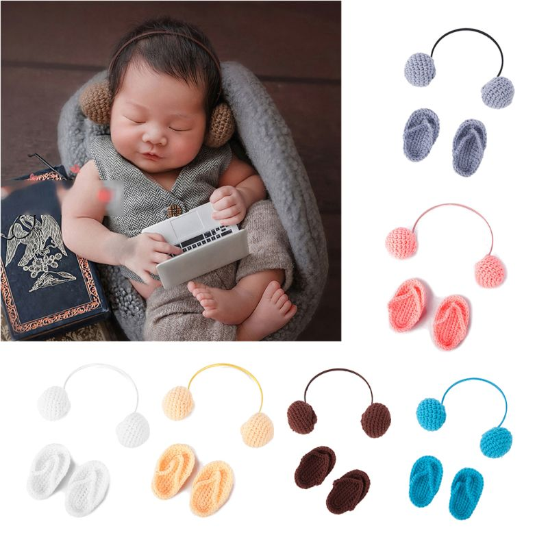NewBorn Photography Props Hand Crochet Baby Slippers +Headset Set Baby Photo Props Shoes Photography Accessories U50F