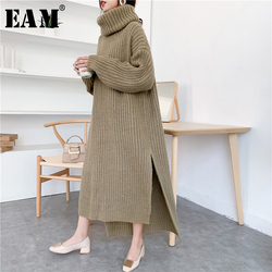 [EAM] Khaki Big Size Knitting Sweater Loose Fit Turtleneck Long Sleeve Women Pullovers New Fashion Tide Autumn Winter 2021 1Y194