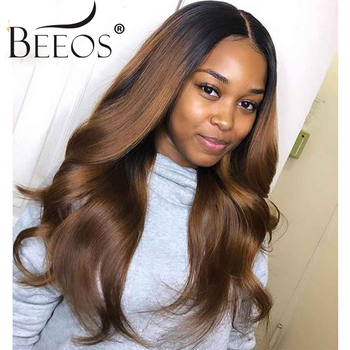 BEEOS Ombre Colored 13*6 Lace Front Human Hair Wigs 150% Pre Plucked Hairline With Baby Hair Honey Blonde Body Wave Deep Parting