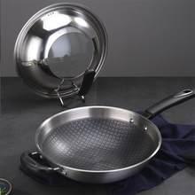 Frier de aço inoxidável 304 do antiderrapante eco-amigável smokless da frigideira da antiaderente do favo de mel para a cozinha