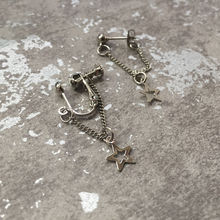 Japan and South Korea metal stars earrings men women long hollow star chain fashion personality
