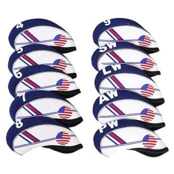 10 Uds. Cubiertas de cabeza de hierro para palos de Golf impermeables con impresión dúplex estilo bandera americana, cubiertas azules y blancas para la cabeza 12