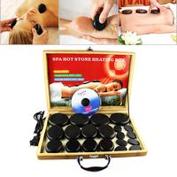 20 Peces of Energy Stone SPA Hot Stone Set Bbamboo Plug in Heating Box Heating Pot Essential Oil Massage Stone Relaxation tool