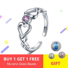 Authentic 925 Sterling Silver Endless Love Heart Ring Adjustable Open Rings With Pink CZ Luxury Jewelry Gift