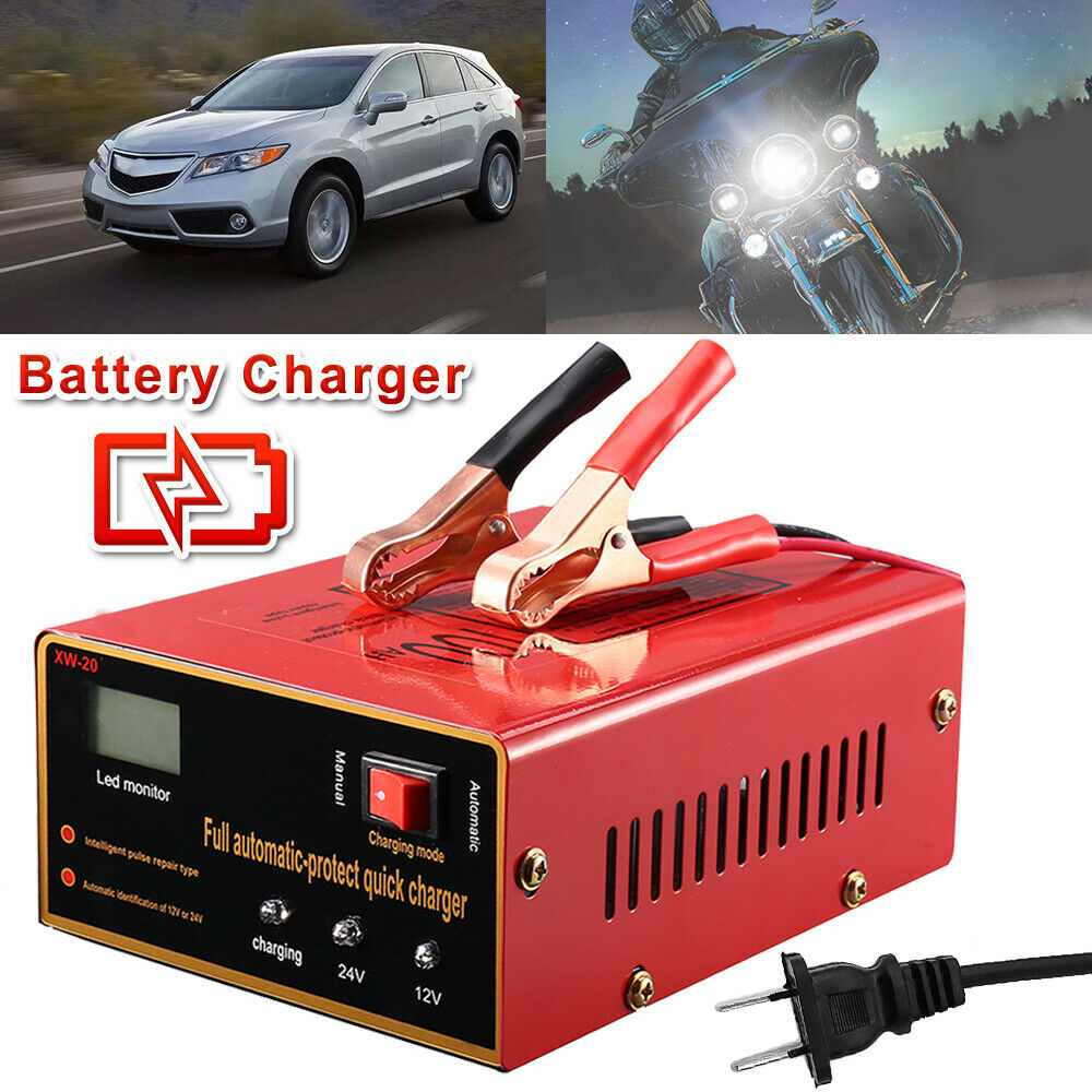 12V/24V 10A 140W Maintenance-free Car Battery Charger Full Automatic Intelligent Pulse Car Repair Truck US Plug High Quality title=