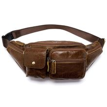 Men's Vintage Genuine Leather Fanny Pack Waist Bum Belt Pack Chest Bag Crossbody Pouch fanny waist pack for men genuine leather belt bag pack pouch men s shoulder chest bag small bum bag mini crossbody hip waistbag